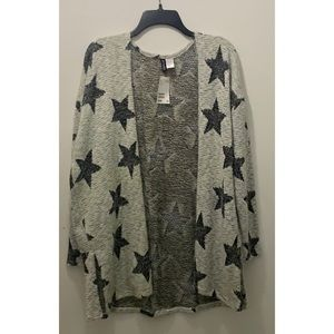H&M Divided Open Front Long Sleeve Star Cardigan